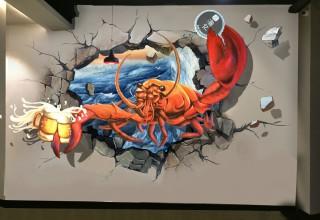鱼忆餐厅3D龙虾壁画手绘