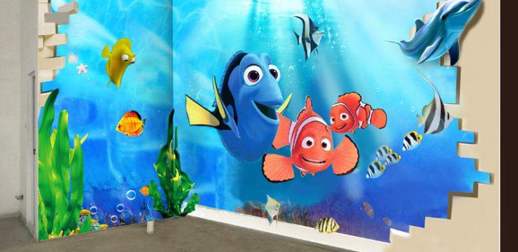爱多多3D游泳馆手绘壁画