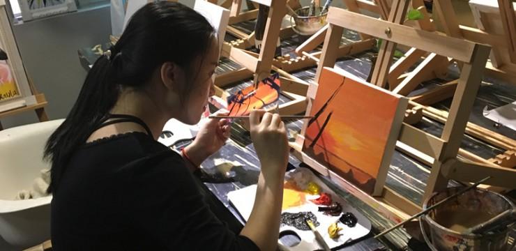 零基础油画体验–夕阳情侣