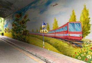 桥洞壁画手绘–街道办手绘壁画–美化外墙壁画手绘