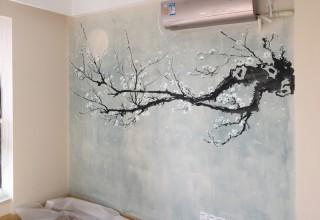 新中式室内背景墙壁画手绘–电视背景墙手绘–家居手绘壁画