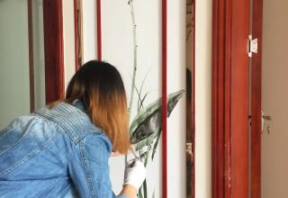 新中式室内客厅壁画手绘–电视背景墙手绘–手绘壁画