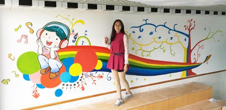深圳碧云小学音乐教室手绘壁画-涂鸦-卡通壁画