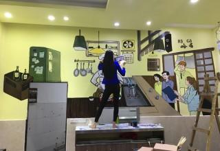 来客餐厅手绘壁画–餐厅涂鸦壁画