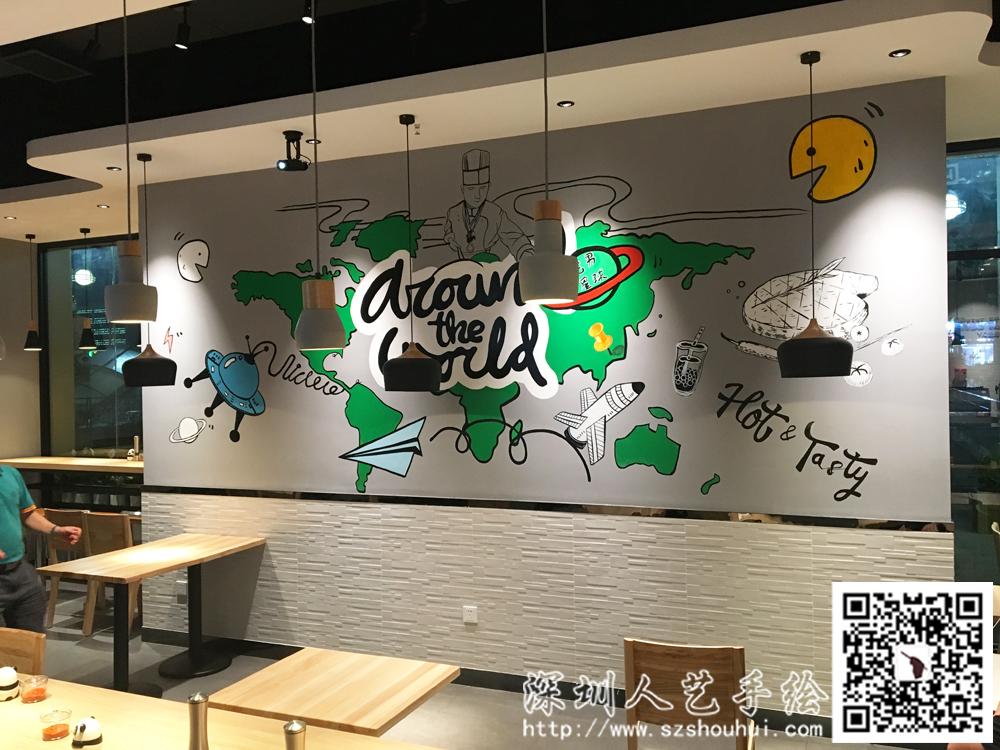 餐厅壁画手绘 (1)