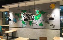 胡椒宅男深圳华南城总店–手绘壁画–室内壁画作品–餐厅涂鸦壁画